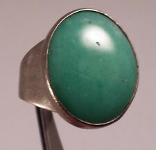 Vintage Sterling Silver Green Stone Ring Size 8.5
