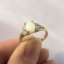 Ivy Gems 9ct Yellow Gold Opal & Diamond Hearts Antique Style Solitaire Ring - M