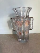 FRENCH ART DECO GLASS vase verre transparent signed A.Riecke circa 1930