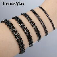 3/5/7/9/11mm Black Tone Stainless Steel Curb Cuban Link Chain Bracelet 7-11inch