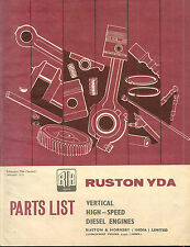 Ruston YDA Parts List vertical high speed diesel engine made in India original