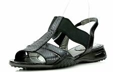 Cole Haan Black Snake Embossed Leather Air Bria T-sling Sandals 7