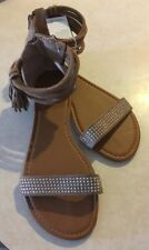 Olivia Miller Tan Ankle Strap Tassel ZipBack Bling Beautiful Sandals NWT$26 S 10