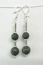 Lava stone beads + Hematite beads dangle earrings 60mm