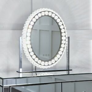 NICHES Oval Diamond Crystal Dimmable Touch Hollywood Table Top Vanity Mirror