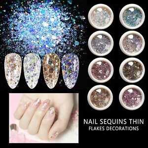8 Boxen Nagel Pailletten Glitter UV Flakes Pulver Pigment Nail Art Sequins