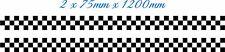 2 x 75mm x 1200mm CHEQUERED - STRIPE - CAR -  VAN - TRAILER - BODY PANEL- BONNET