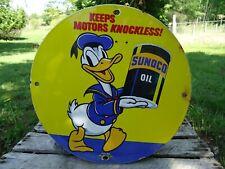 OLD VINTAGE 1939 SUNOCO OIL PORCELAIN GAS SERVICE STATION PUMP SIGN DONALD DUCK