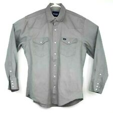 Wrangler Mens Shirt Grey Sz L/G/G Pearl Buttons Denim Long Sleeves 100% Cotton