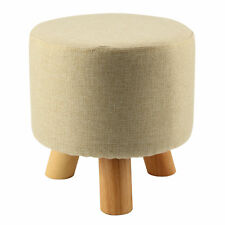 Modern Luxury Upholstered Footstool Round Pouffe Stool + Wooden Leg Pattern A4J5
