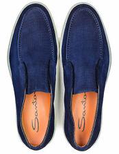 Santoni Loafers IN Dark Blue From Geprägtem Suede RegEUR460