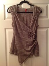 One September Brown & White Asymmetrical Tank Top, Size Large