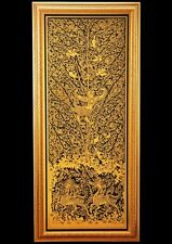 Thai Art lacquer Black Gilded Decorated image Garuda in Himmaphan Free shipping