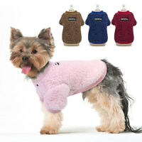 Warm Fleece Dog Cat Vest Clothes Cute Pet Sweater Coat for Small Medium Dog Pink
