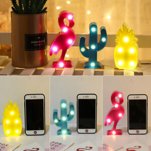 3D LED Night Light Flamingo Pineapple Cactus Warm Lamp Kids Bedroom Decoration