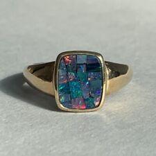 Vintage 9ct Gold Mosaic Black Opal Ring 3.38g Size P Hallmarked