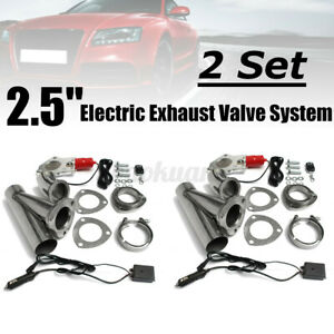 2 Set 2.5'' Electric Exhaust Valve Catback Downpipe System Cutout E-cut + Remote