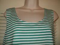 Chicos 3 Green Striped Sleeveless Stretch Scoop Neck Tank Top XL 16