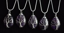 Silver Plated Wire Wrap Tree of Life Water Drop Amethysts Pendent Necklace