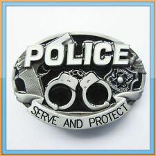 POLICE LAW HANDCUFFS ENFORCEMENT COP JUSTICE AMERICA PROTECT GUN BELT BUCKLE
