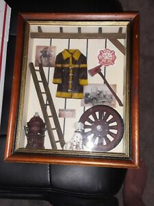 "Firefighter framed Shadow Box Firetruck, Fireman 13.5"" x 11""x 2"".  Americana"