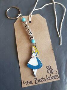 Personalised Alice in Wonderland Fantasy Keyring  present Gift UK Seller
