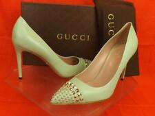 NIB GUCCI PLANTATION MINT LEATHER SILVER METAL STUDS STUDDED PUMPS 39 #370802