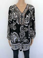 NWT JM COLLECTION Plus 3X Floral Black White Brown Blouse Shirt Top Tunic Womens