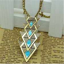 New Women's Fashion Vintage Triangle Long Pendant Chain Charm Necklace Jewelry