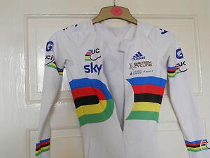 Adidas NEW TEAM GB UCI world champion stripes cycling bike skinsuit issue SKY