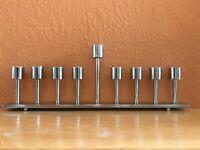 "Menorah 9 Branch Cast Iron Stainless Steel Coated 14""L 4 lb Heavy Duty Modern"