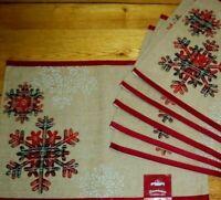 Snowflake Placemats Set Of 6 Natural Jute Log Cabin Farmhouse Winter Plaid Decor