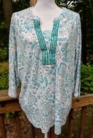Hasting & Smith Women's 3X Embroidered Long Sleeve Shirt Top Cotton blend