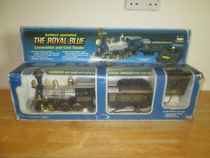 New Bright - The Royal Blue Battery Operated Locomotive and Coal Tender - Rare