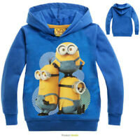 Minions Bob Kevin Stuart Boys Girls unisex Kids tops hoodie size 4 to 10 years