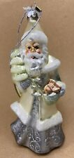 Midwest CBK Glassworks Winter Frost Santa Glass Christmas Ornament NWT's