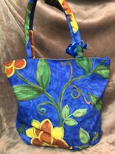 Colorful Cancun Mexico Beach Tote Bag w/ 2 wooden fish trim & zipper closure