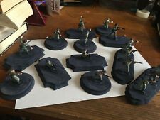 Lot of 16 painted plastic 1/35 WW2 German army soldiers Wermacht on wooden bases