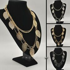Hot Selling Light Leaf Multi-Layers Link Chain Pendant Long Necklace