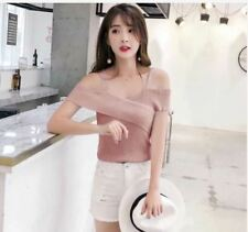WOMEN'S KNITTED OFFSHOULDER TOP (DZ)-   PINK