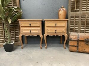 Vintage French Bedside tables / Limed Shabby Chic Style