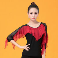 NEW Women Top for Latin salsa cha cha tango Ballroom Dance #W524  Black
