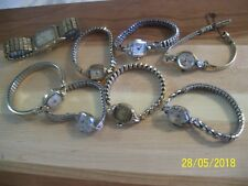 LOT OF 8 VINTAGE WRIST WATCHES, BULOVA, WALTHAM, ELGIN, WITTNAUER, + 2 FREE SETS