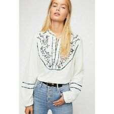 New listing Free People White Blue Sundance Kid Western Embroidered Shirt Top Euc Sz S 4 6