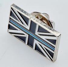 Thin Blue Line Union Jack UK Metal Tie Pin Lapel Badge Police Officer Constable