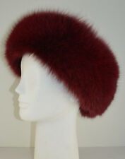 Real Fox Fur Headband Cranberry Wine New made in the USA.