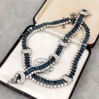 RARE Vintage Austrian Crystal Deco Style Blue & Diamante Necklace Bracelet Set
