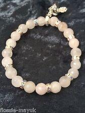 "Stretchy 7"" Rose Quartz Gemstone Beads & Crystals & shoes charm bracelet"