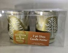 Glisten & Glow Old Town Glass Candle Holders Christmas Holiday