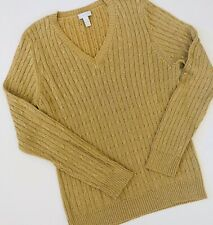 Charter Club Silk Blend Sweater Gold Metallic Weave V Neck Cable Knit Women LG